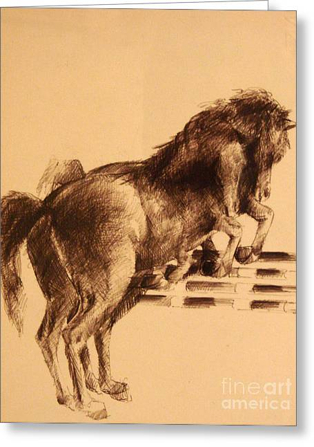 Horses Race Greeting Card by Mirek Bialy