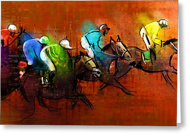 Horses Racing 01 Greeting Card by Miki De Goodaboom
