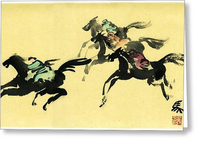 Greeting Card featuring the painting Horse Racing by Ping Yan