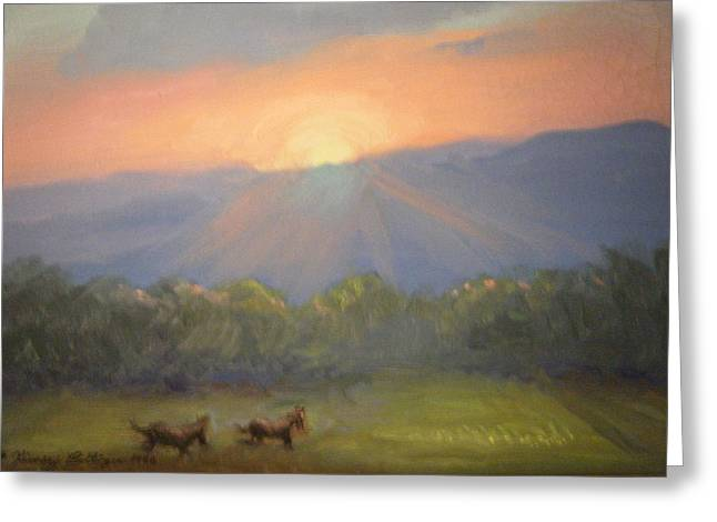 Horses Running Free Greeting Card by Patricia Kimsey Bollinger