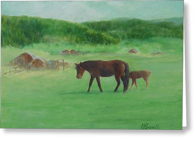 Horses Rural Pasture Western Landscape Original Oil Colorful Art Oregon Artist K. Joann Russell Greeting Card by Elizabeth Sawyer