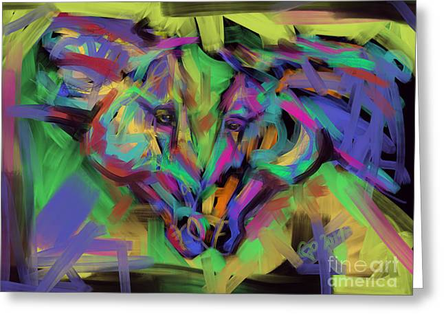 Horses Together In Colour Greeting Card