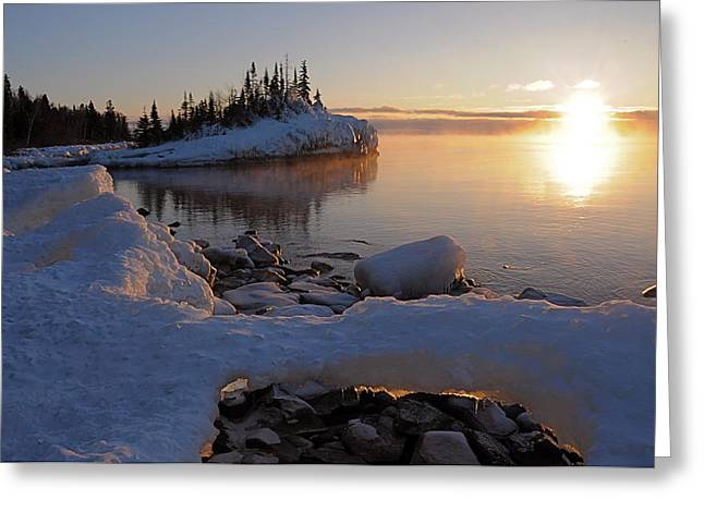 Horseshoe Bay Island Sunrise At Minus 20 Greeting Card by Sandra Updyke