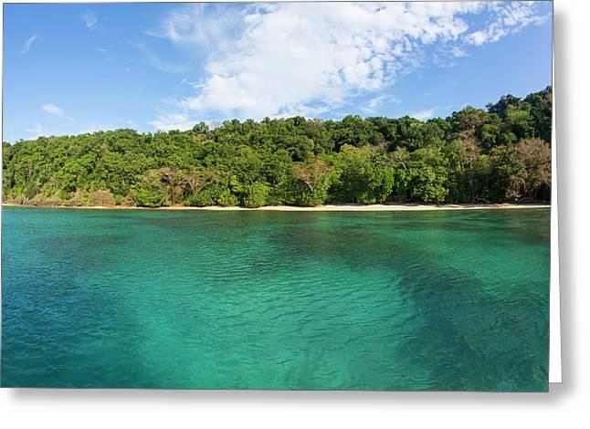 Horseshoe Bay, Matangi Private Island Greeting Card by Douglas Peebles
