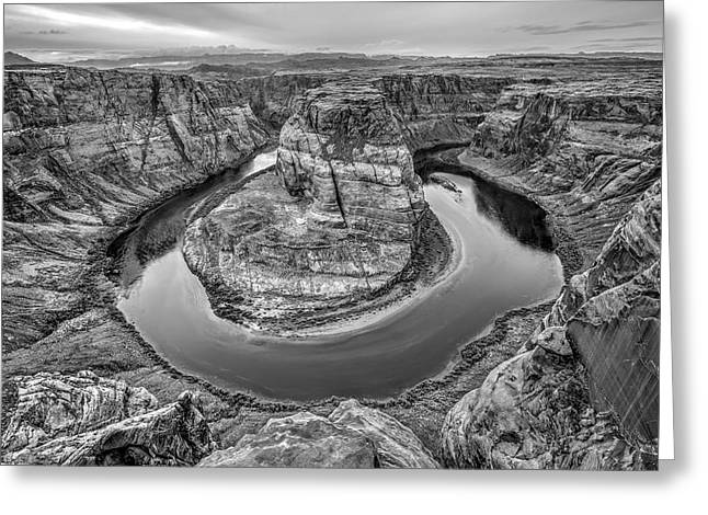 Horseshoe Bend Arizona Black And White Greeting Card