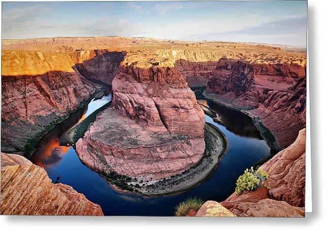 Horseshoe Bend At Sunrise - Page Arizona Greeting Card by Gregory Ballos