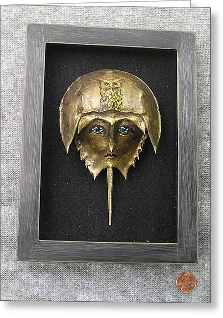 Horseshoe Crab Mask In Grey  Frame Greeting Card