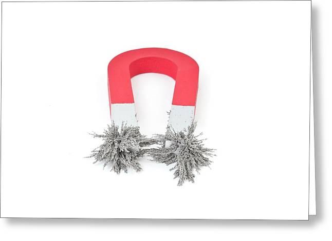 Horseshoe Magnet Attracting Metal Filings Greeting Card by Dorling Kindersley/uig