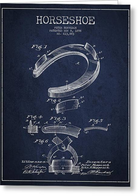 Horseshoe Patent Drawing From 1898 Greeting Card