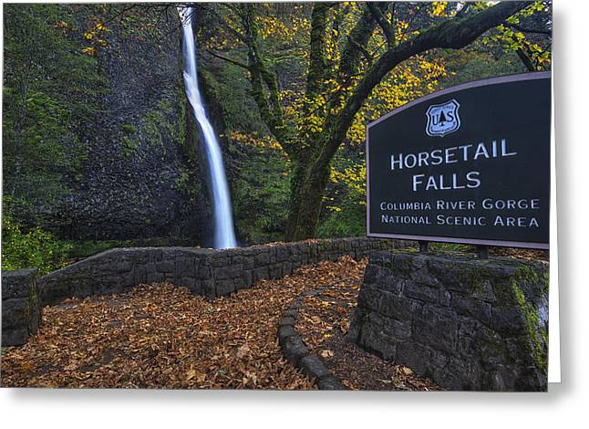 Horsetail Falls With Sign Greeting Card by Mark Kiver