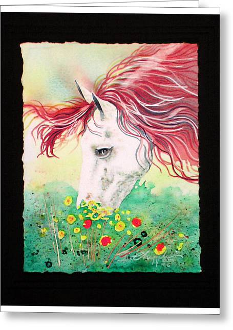 Greeting Card featuring the painting Horsin Around Number Six by David  Chapple
