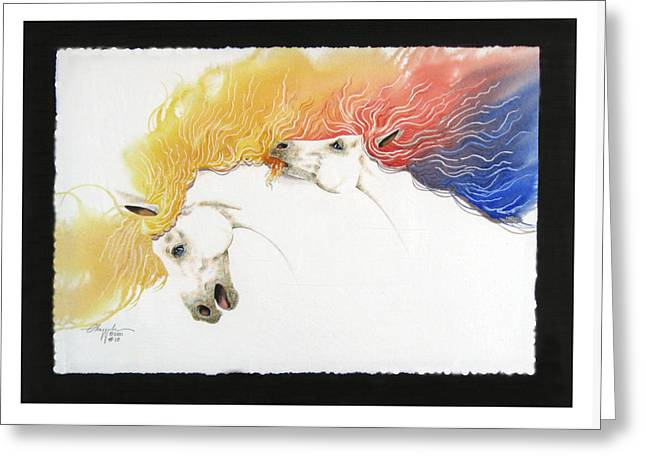 Greeting Card featuring the painting Horsin Around Number Ten by David  Chapple