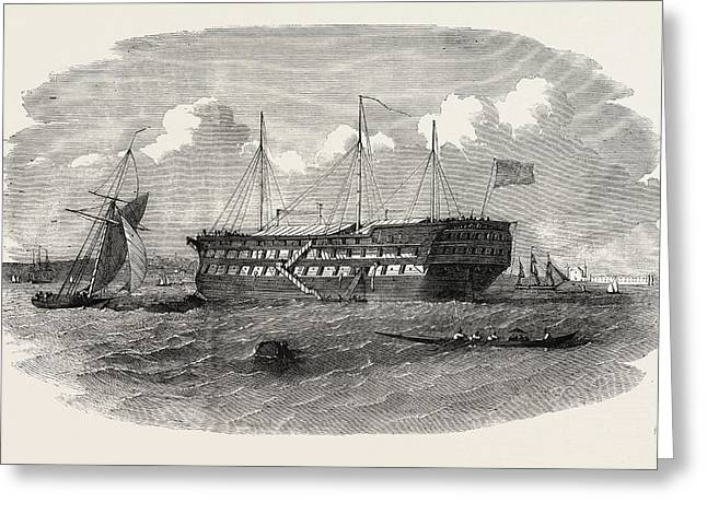 Hospital Ship Near The Seraglio At Constantinople Istanbul Greeting Card