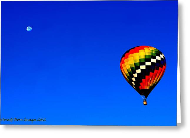 Hot Air Ballon To The Moon Greeting Card by Rebecca Adams