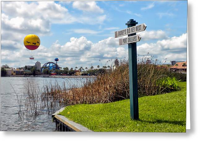 Hot Air Balloon And Old Key West Port Orleans Signage Disney World Greeting Card by Thomas Woolworth