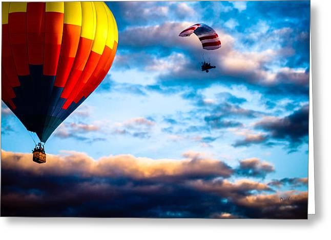 Hot Air Balloon And Powered Parachute Greeting Card by Bob Orsillo