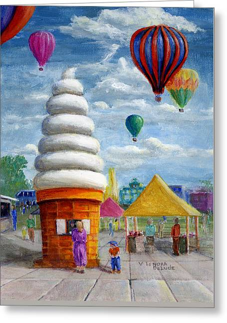 Greeting Card featuring the painting Hot Air Balloon Carnival And Giant Ice Cream Cone by Lenora  De Lude