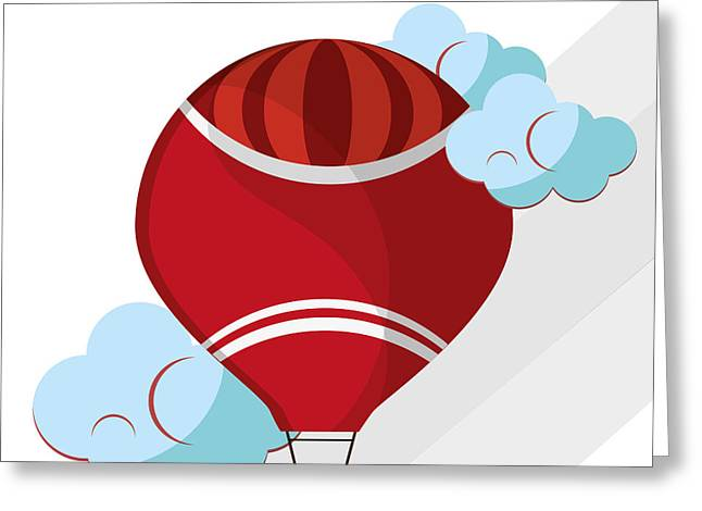 Hot Air Balloon Graphic , Vector Greeting Card