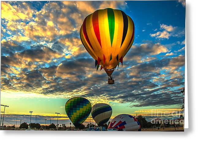 Hot Air Balloon Lift Off Greeting Card by Robert Bales