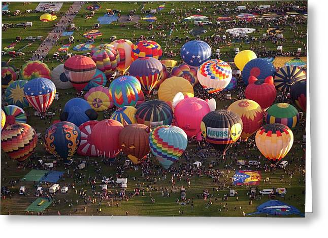 Hot Air Balloon Mass Ascent Greeting Card by Peter Menzel
