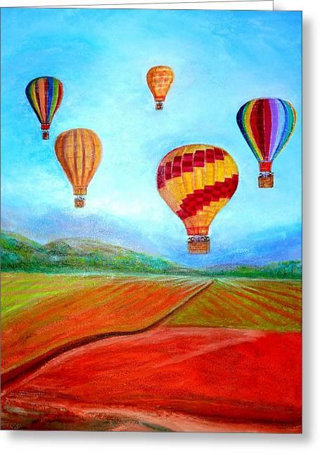 Hot Air Balloon Mural  Greeting Card by Anais DelaVega