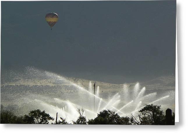 Hot Air Balloon Over Utah Farm Greeting Card