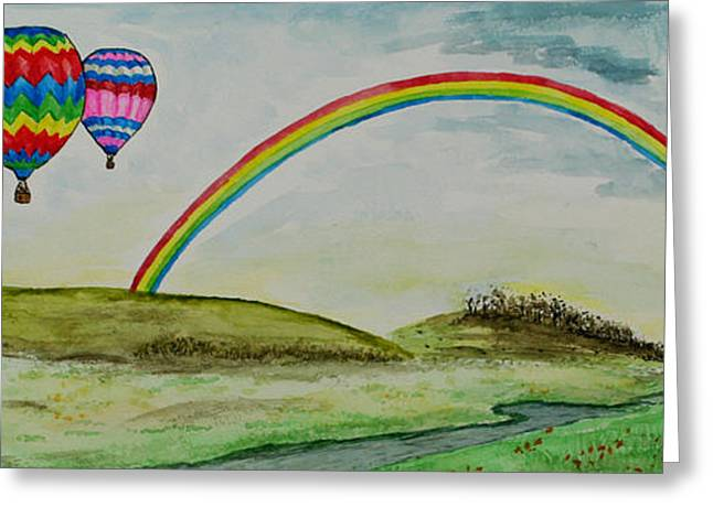 Hot Air Balloon Rainbow Greeting Card