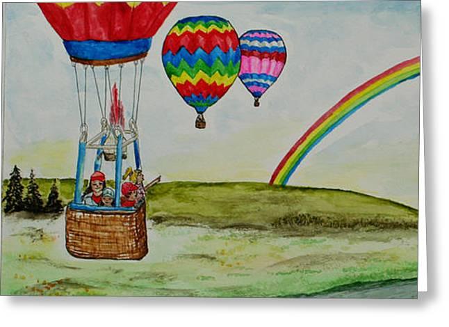 Hot Air Balloon Rainbow Greeting Card