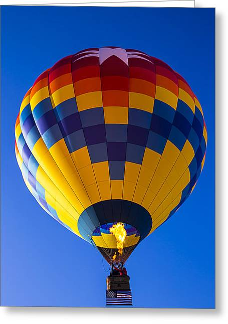 Hot Air Balloon With American Flag Greeting Card by Garry Gay