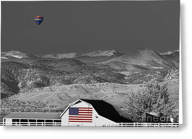 Hot Air Balloon With Usa Flag Barn God Bless The Usa Bwsc Greeting Card by James BO  Insogna