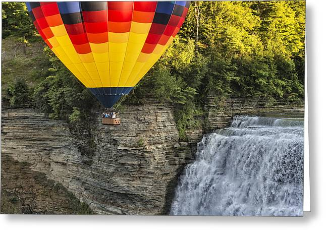 Hot Air Ballooning Over The Middle Falls At Letchworth State Par Greeting Card
