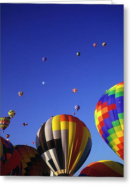 Hot Air Balloons Aloft Greeting Card by Greg Probst
