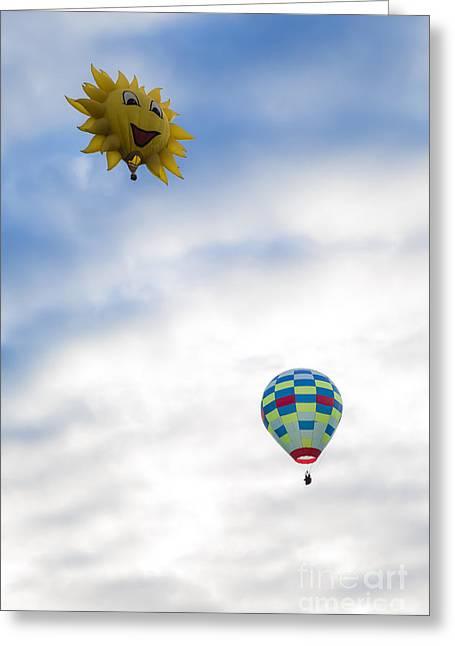 Hot Air Balloons In Flight Greeting Card by Brenda Giasson