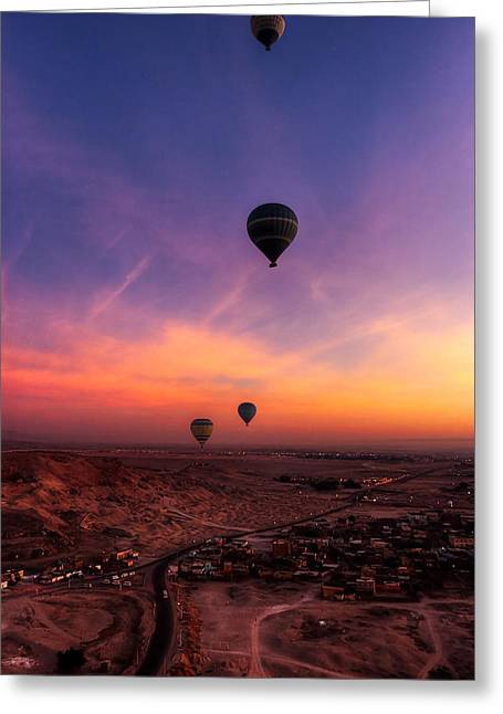 Hot Air Balloons In The Dawn Skies Over Egypt Greeting Card