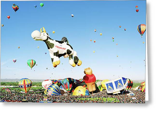 Hot Air Balloons In The Sky Greeting Card by Panoramic Images