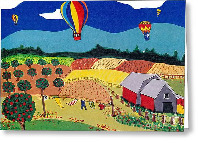 Greeting Card featuring the painting Hot Air Balloons Over Farmland by Joyce Gebauer