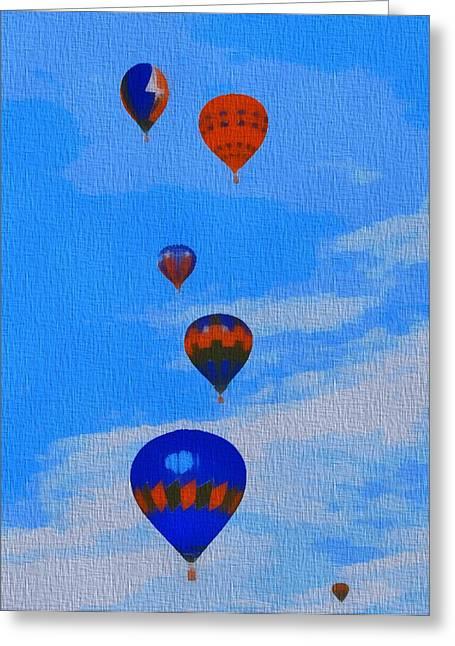 Hot Air Balloons Pop Art Greeting Card by Dan Sproul