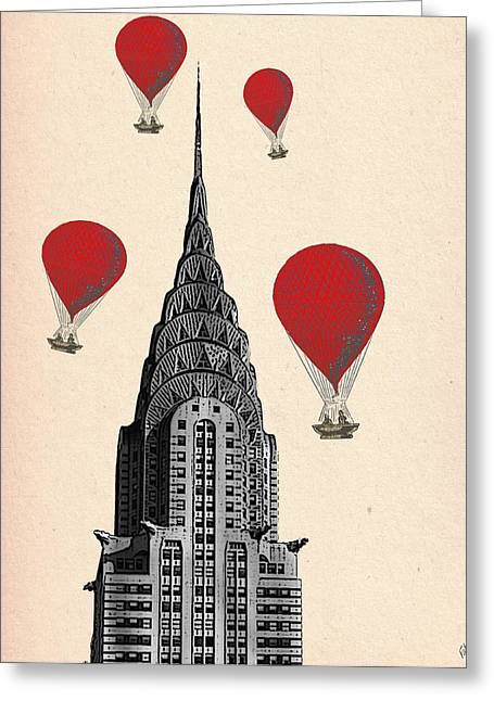 Hot Air Balloons Red Chrysler Building Greeting Card