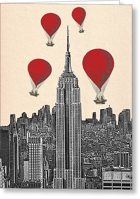 Hot Air Balloons Red Empire State Building Greeting Card