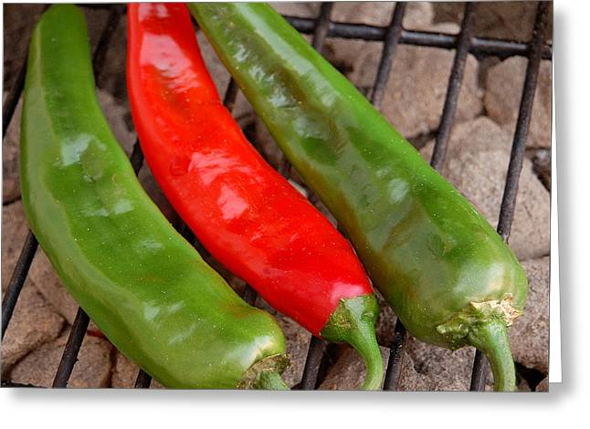 Hot And Spicy - Chiles On The Grill Greeting Card by Steven Milner