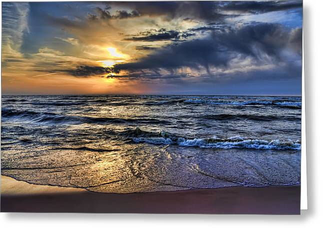 Hot April Sunset Saugatuck Michigan Greeting Card by Evie Carrier