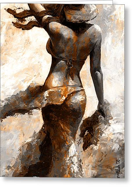 Hot Breeze - Digital Color Version Rust Greeting Card by Emerico Imre Toth