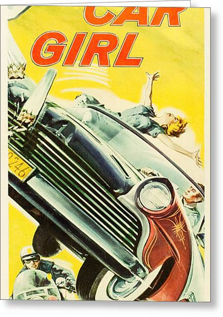 Hot Car Girl Greeting Card