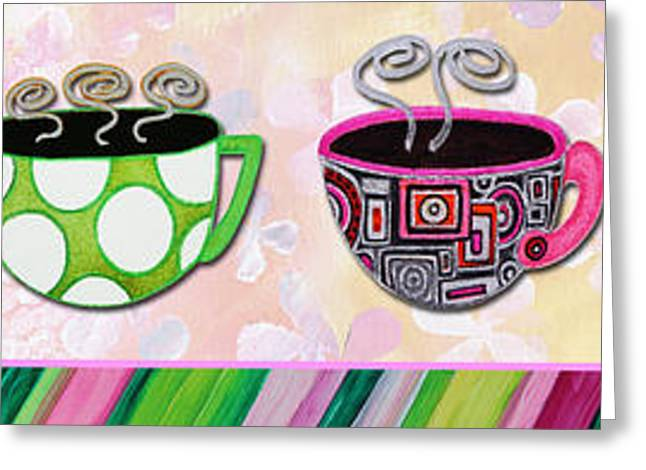 Hot Cuppa Mugs Cups Whimsical Pop Art Tea Party By Romi And Megan Greeting Card by Megan Duncanson