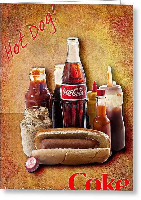 Greeting Card featuring the photograph Hot Dog And Cold Coca-cola by James Sage