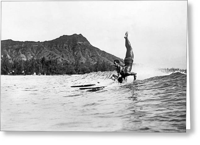 Hot Dog Surfers At Waikiki Greeting Card by Underwood Archives