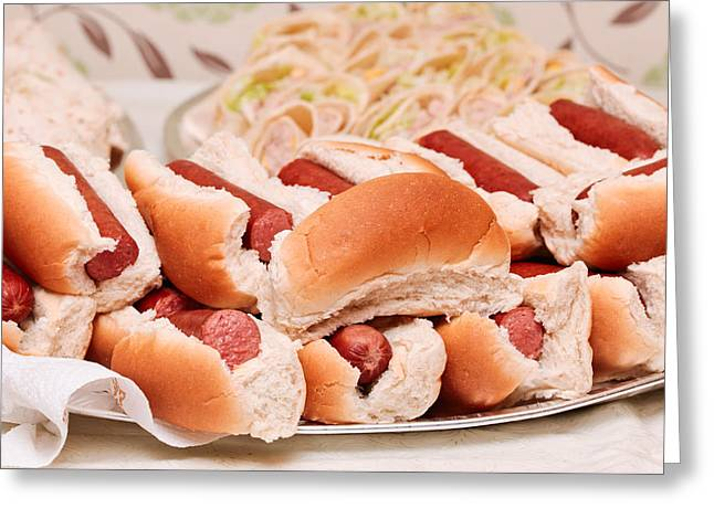 Hot Dogs Greeting Card by Tom Gowanlock