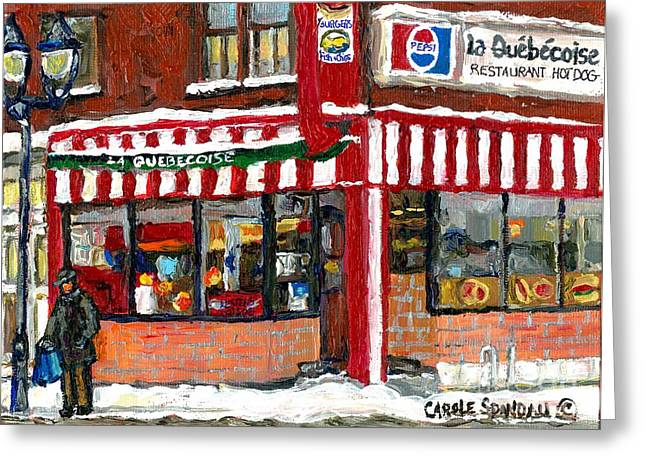 Hot Food On A Cold Day Quebec Restaurant Winter Scene Paintings Waiting For The Bus Montreal Art  Greeting Card by Carole Spandau