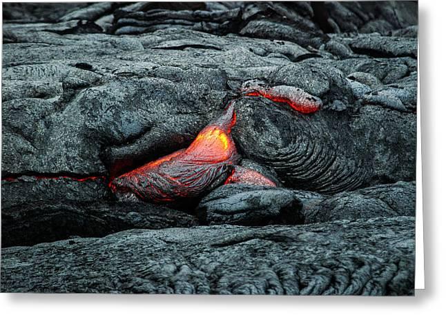 Hot Lava Greeting Card by Jen Morrison