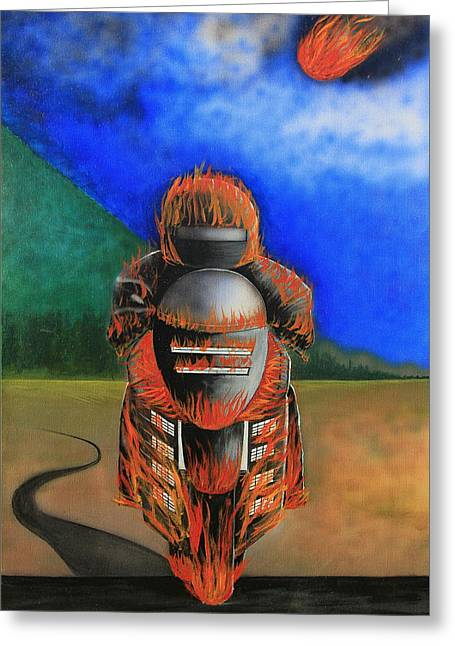 Greeting Card featuring the painting Hot Moto by Tim Mullaney
